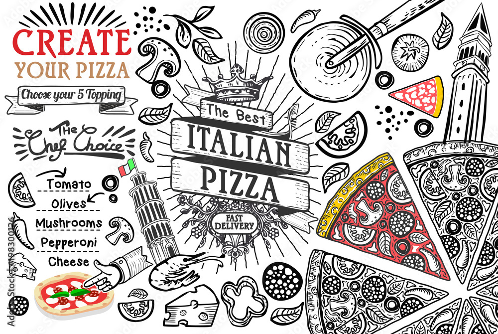 Italian food ingredients as pizza doodle <span>plik: #198300126   autor: Aurielaki</span>