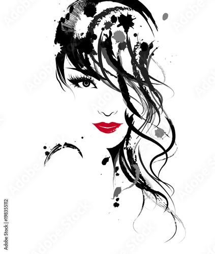Beautiful women, logo women face makeup on white background, vector