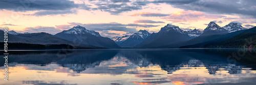 Canvas Print Lake McDonald in Glacier National Park, Montana, USA at sunset