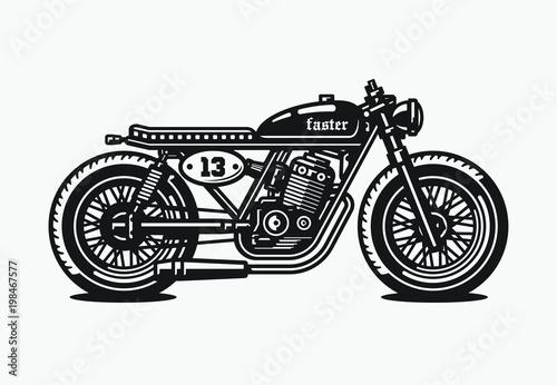 Valokuva Monochrome cafe racer motorcycle. Vintage style. Custom bike.