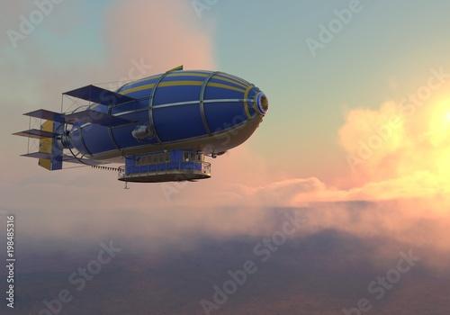 Canvas Fantasy Airship Zeppelin Dirigible Balloon 3D illustration