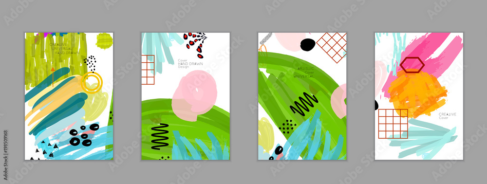 Abstrakcjonistyczny kolaż robić z bazgrołów markercanyon strokesblack geometrycznymi kształtami <span>plik: #198509168 | autor: Zebra Finch</span>