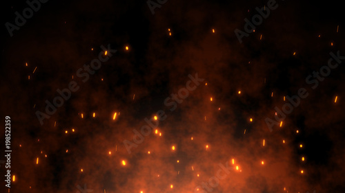 Fotografie, Tablou Burning red hot sparks rise from large fire in the night sky