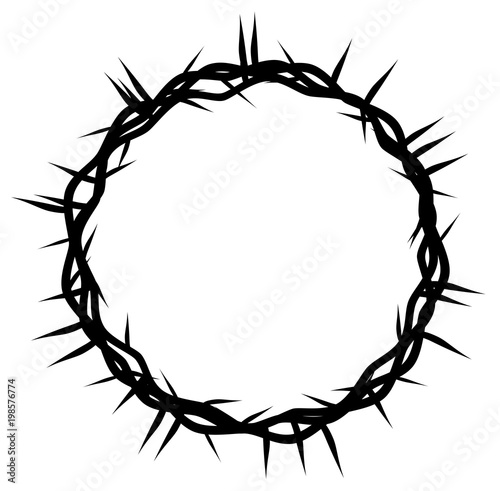 Fényképezés crown of thorns, easter religious symbol of Christianity hand drawn vector eps 1