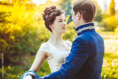 Obraz na płótnie Couple in beautiful suits