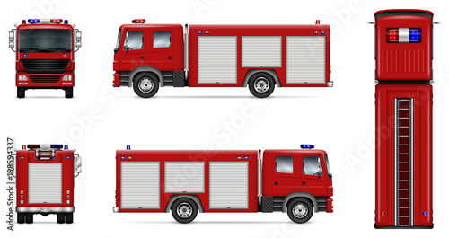 Stampa su Tela Fire truck vector mock-up