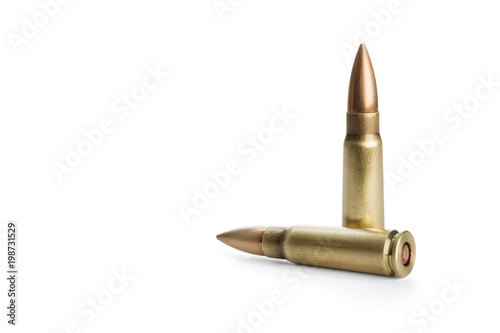 Two rifle bullets over white background, including clipping path Fototapeta