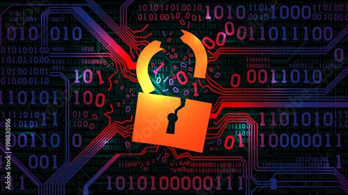 Fotografija Hacking abstract firewall, antivirus
