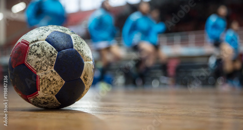 Fotografia, Obraz Handball ball on floor