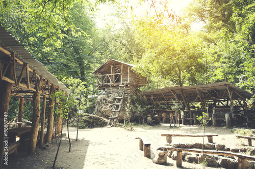wooden house in forest in Armenia