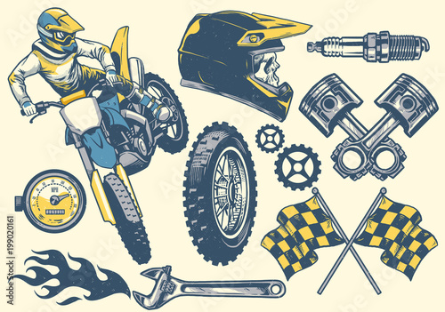 Photo set of motocross objects in retro hand drawing style