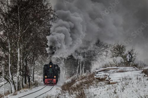 Dampflok Bieberlies im Winter