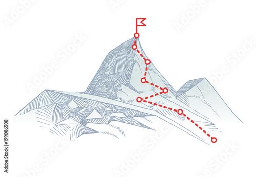 Fotografie, Obraz Mountain climbing route to peak