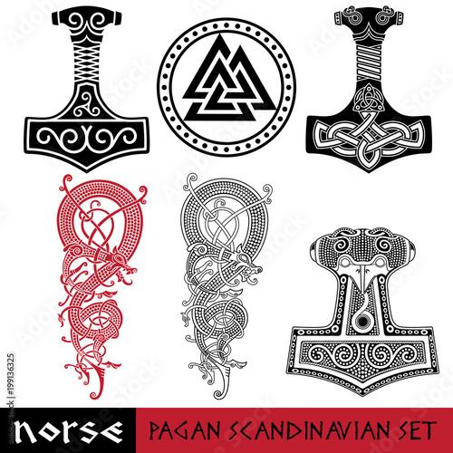 Scandinavian pagan set - Thors hammer - Mjollnir, Odin sign - Valknut and world dragon Jormundgand. Illustration of Norse mythology