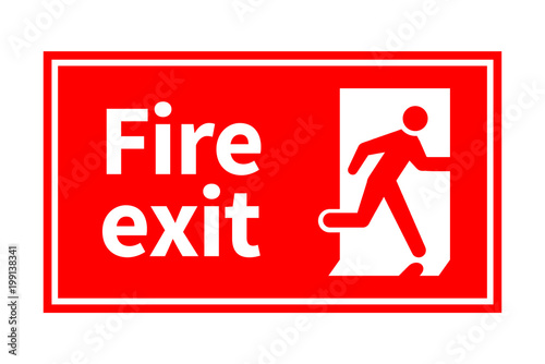 Emergency fire exit red sign with running man on white Fototapeta