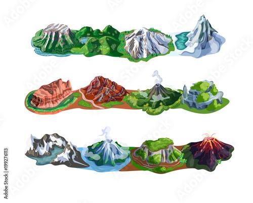 Beautiful Mountain Landscapes Set Fototapete