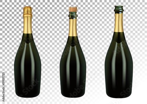 Obraz na plátně Vector illustration of set of champagne bottles or sparkling wine in photorealistic style