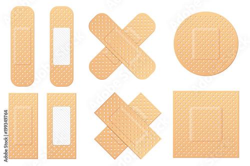 Creative vector illustration of adhesive bandage elastic medical plasters set isolated on transparent background Fototapet