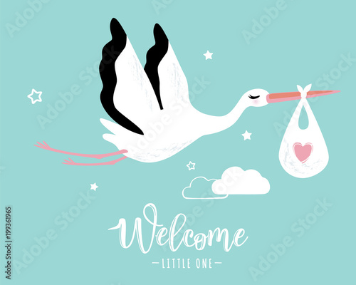 Carta da parati Vector illustration of a baby shower Invitation with stork