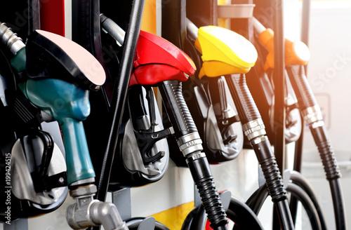 red green yellow orange color fuel gasoline dispenser  background Fototapet