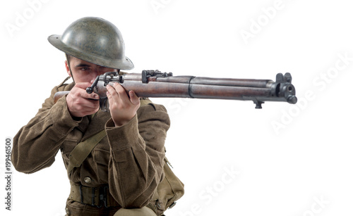 Canvas Print WW1 British Army Soldier from France 1918, on white