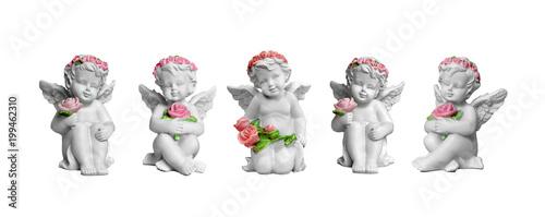 Fényképezés Angel figurines isolated on white