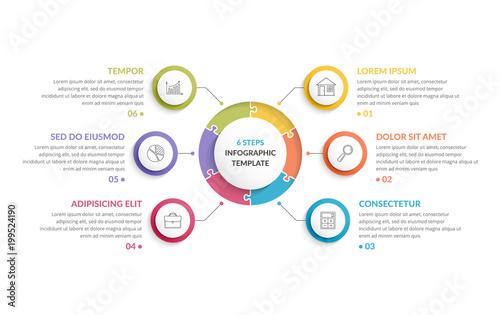 Wallpaper Mural Circle Infographics - Six Elements
