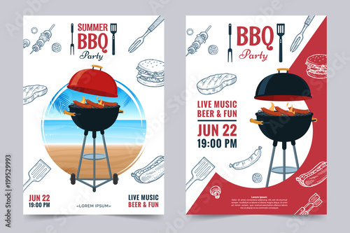 BBQ party a4 invitation template Fotobehang