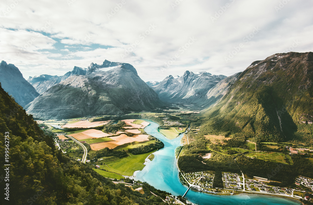 Landscape Mountains valley and river in Norway Travel scenery scandinavian nature Andalsnes Rampestreken viewpoint summer aerial view