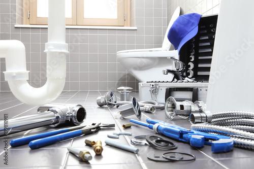 plumber tools and equipment in a bathroom, plumbing repair service, assemble and Fototapeta