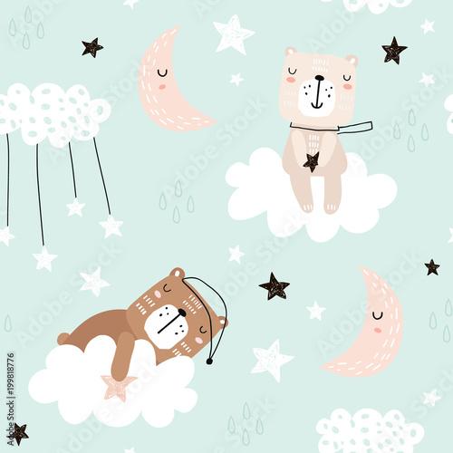 Plakat z wzorem śpiącego misia do pokoju dziewczynki