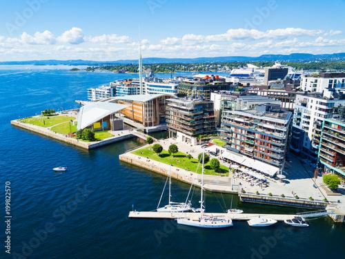 Canvas Print Aker Brygge aerial view, Oslo
