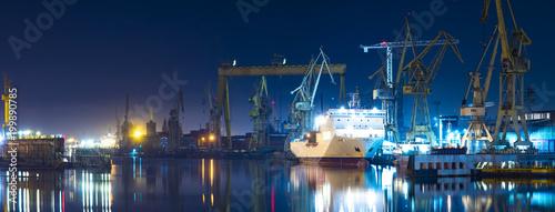 Fotografie, Obraz industrial areas of the shipyard in Szczecin in Poland,high resolution panorama