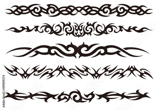 Obraz na plátně Tattoo tribal vector design art set.
