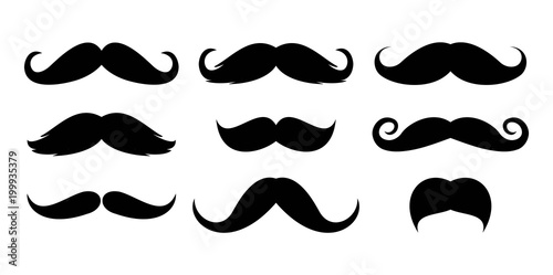Canvas Print Mustache icon set vector