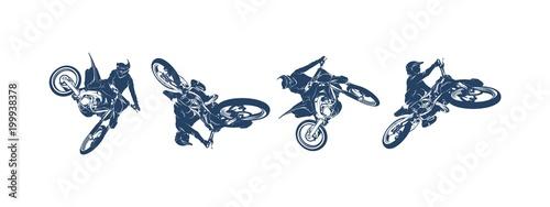 Canvas Print Motocross Jump Logo Vector, Motocross Freestyle silhouette