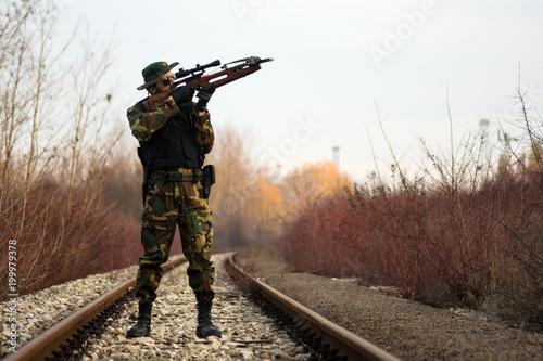 Fotografia, Obraz aiming with crossbow