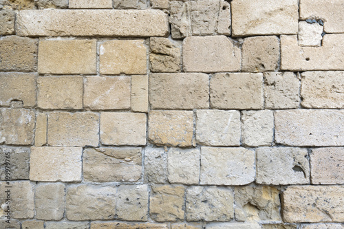 Old stone wall closeup from an ancient medieval castle in Kyrenia, North Cyprus Fototapeta