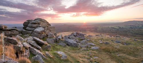 Fotografie, Obraz Sunset Kings Tor Dartmoor Devon Uk