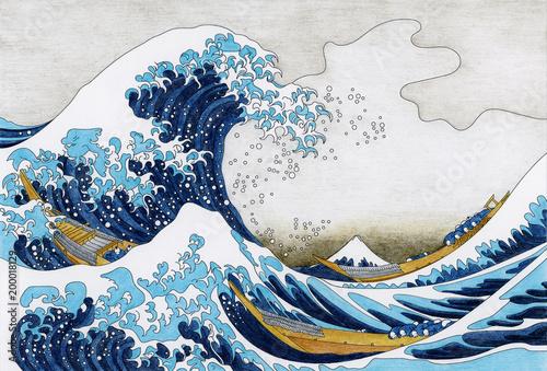Fotografija Hokusai The Great Wave Of Kanagawa adult coloring page