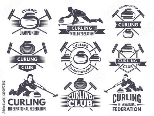 Fotografía Monochrome badges of curling. Labels for sport teams