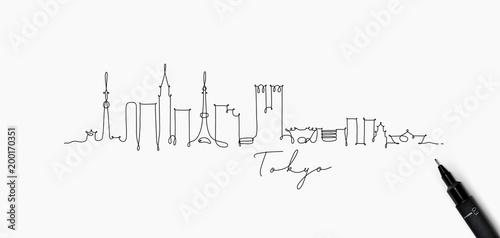 Fototapeta premium Sylwetka linii pióra tokio