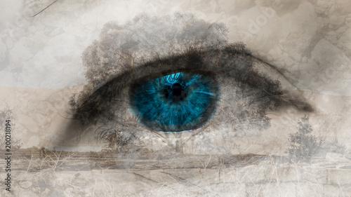 Oko i drzewo B Podwójna ekspozycja, czarno-biały odcień, selektywny kolor niebieski, płytka głębia ostrości
