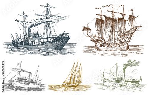 Photo Motor ship in the sea, summer adventure, active vacation