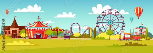 Stampa su Tela Amusement park vector illustration of cartoon attraction rides and circus tent