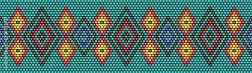 Fotografie, Obraz Trendy, modern ethnic beaded, border, pattern, embroidery cross, diamonds, strip