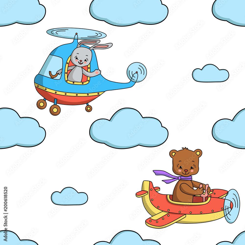 Bezszwowy wzór z królikiem w helikopterze <span>plik: #200618520 | autor: ninafedorova</span>