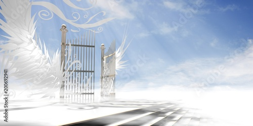 Gates of heaven concept wrapped in wings and ornaments over raised stair (version 2 - light atmosphere) - 3d high resolution rendering Fotobehang