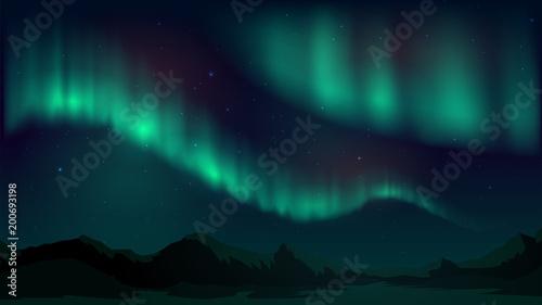 Vector illustration with aurora borealis, northern starry night
