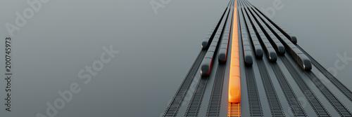Fototapeta High speed rail transport concept, original 3d rendering